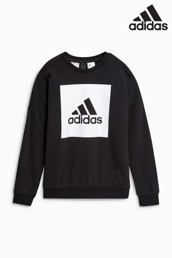 Boys adidas Stack Logo Crew Sweater - Black