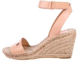 Tory Burch Leather Espadrille Wedges