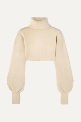 Orseund Iris Cropped Ribbed-knit Turtleneck Sweater