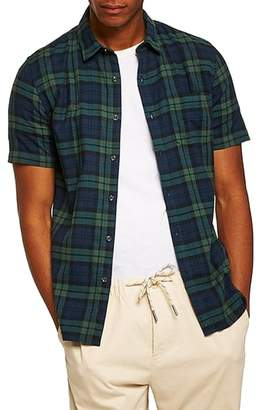Topman Muscle Fit Black Watch Plaid Shirt