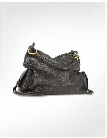 Ghibli Black Washed Soft Leather Oversize Tote Bag