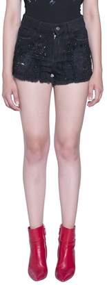 Amen Embroidered Denim Cotton Shorts