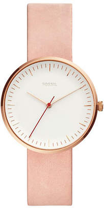 Fossil The Essentialist Three-Hand Leather-Strap Watch