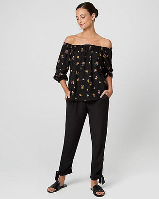 Le Château Floral Print Viscose Off-the-Shoulder Blouse