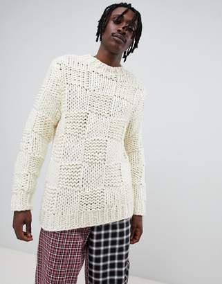 Asos Design DESIGN heavyweight hand knitted square texture jumper in ecru