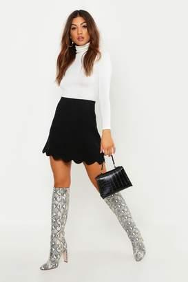 boohoo Scallop Trim Mini Skirt
