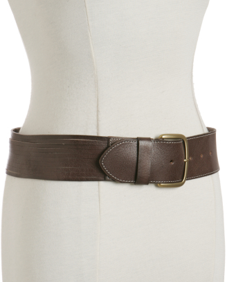 Linea Pelle dark brown shredded leather belt