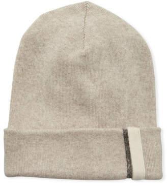Brunello Cucinelli Girl's Cashmere Beanie Hat with Monili, Size 12-14