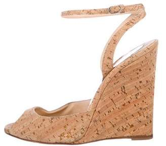 Christian Louboutin Cork Peep-Toe Wedges