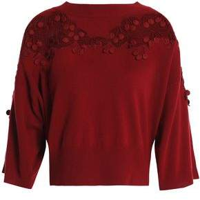 Chloé Giupure Lace-appliqued Wool And Cashmere-blend Sweater