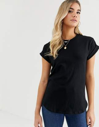 Asos DESIGN t-shirt in boyfriend fit with rolled sleeve and curved hem in black