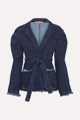 Maggie Marilyn Net Sustain George Iii Knotted Frayed Denim Jacket - Mid denim