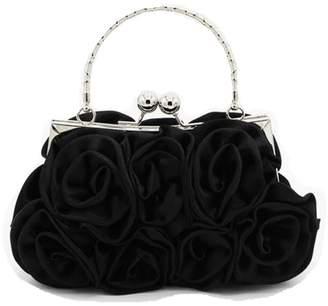 Nodykka Wedding Satin Clutches Floral Rose Embellishment Evening Top-Handle Bag Purse