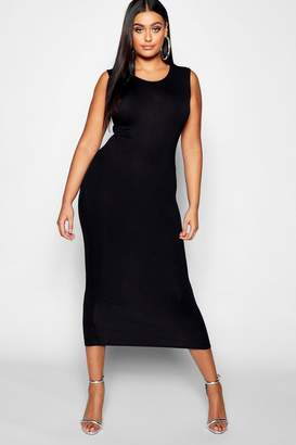 boohoo Plus Sleeveless High Neck Midi Dress