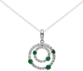 14K Diamond & Gemstone Double Circle Pendant with Chain
