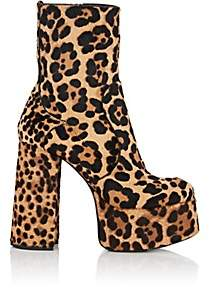 Saint Laurent Women's Billy Calf Hair Platform Ankle Boots - Brown