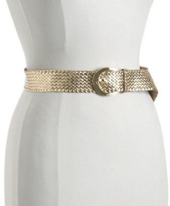 Calvin Klein gold goatskin woven belt
