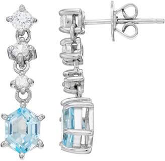 Sterling Silver Hexagon Cut Sky Blue Topaz Drop Earrings