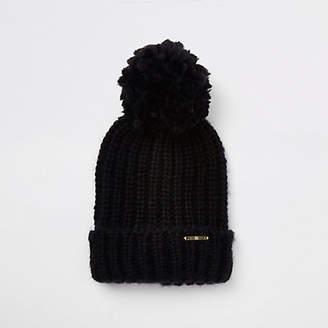 River Island Womens Black pom pom bobble top knit beanie hat