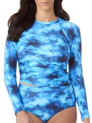 ff3e7c3f24 100 Degrees Women s Plus-Size Rash Guard with Mesh Sleeves · Walmart.com ...