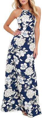 Romacci Women Dress Halter Neck Floral Print Sleeveless Summer Beach Dress (L, )