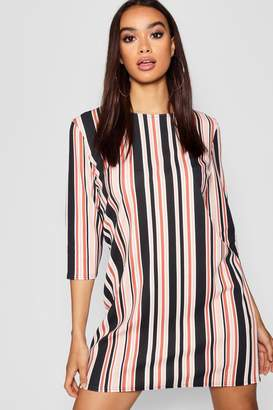 boohoo Tonal Stripe 3/4 Sleeve Shift Dress