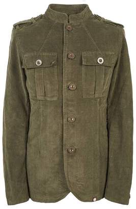 Pretty Green Mandarin Collar Corduroy Military Jacket