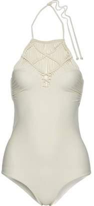 Mikoh Moorea Macramé-Paneled Cutout Swimsuit