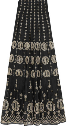 Alice + Olivia - Lysa Embroidered Cotton-voile Maxi Skirt - Black $400 thestylecure.com