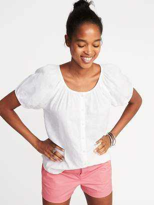 Old Navy Relaxed Button-Front Bubble-Sleeve Top for Women