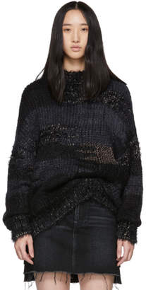 Saint Laurent Black and Navy Camouflage Jacquard Sweater