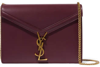 Saint Laurent Cassandra Leather Shoulder Bag - Burgundy