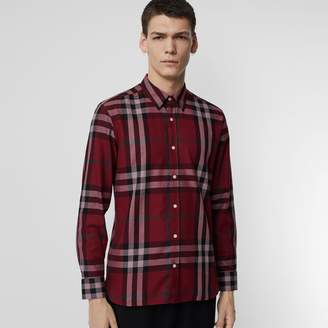 Burberry Check Cotton Flannel Shirt , Size: XL, Red