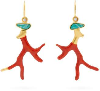 Lizzie Fortunato Napoli Coral gold-plated brass drop earrings