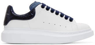 Alexander McQueen White and Blue Python Oversized Sneakers