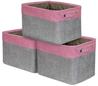 Sorbus Storage Large Basket Set [3-Pack] - 15 L x 10 W x 9 H - Big Rectangular Fabric Collapsible Organizer Bin Carry Handles Linens, Towels, Toys, Clothes, Kids Room, Nursery (Pink)