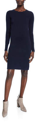 Neiman Marcus Cashmere Long-Sleeve Crewneck Dress