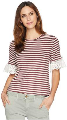 Bobeau B Collection by Shay Stripe Tee with Lace Sleeve Women's T Shirt