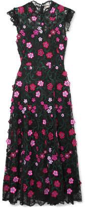 Lela Rose Embroidered Lace Midi Dress - Black