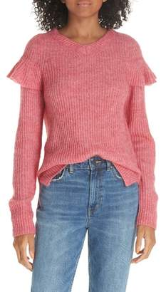 Rebecca Taylor Frill Detail Ribbed Wool Blend Sweater