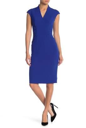 Tahari Cap Sleeve V-Neck Sheath Dress