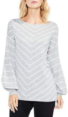 Vince Camuto Bishop Sleeve Chevron Intarsia Sweater