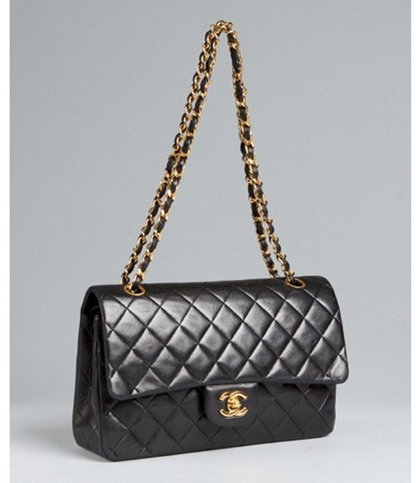 Chanel black quilted lambskin double flap chain handle bag