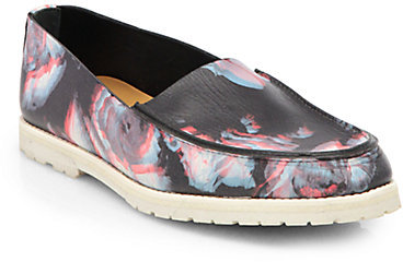 Maison Martin Margiela Floral-Print Leather Loafers