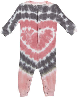 PJ Salvage Girl's Heart Tie Dye Print Sleep Coverall, Size 3-18 Months