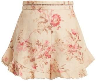 Zimmermann Corsair Flutter floral-print linen shorts