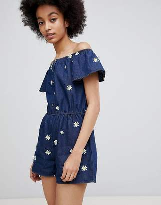 Miss Selfridge Daisy Print Denim Romper