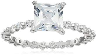 Rhodium Plated Sterling Silver Square Cubic Zirconia 7mm Ring