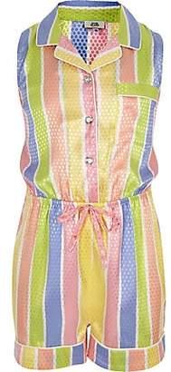 River Island Girls yellow stripe pyjama playsuit