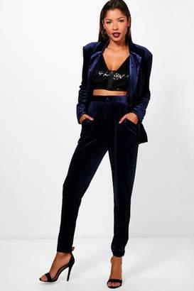 boohoo Premium Velvet Suit Trouser
